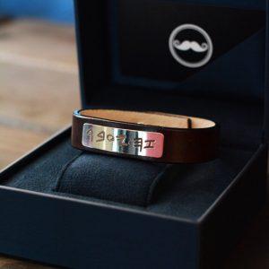 Заказать браслет из кожи Серии Chernous_gold с гравировкой на золоте